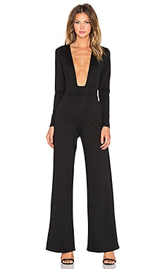 Twin Sister Plunge Front Jumpsuit in Black