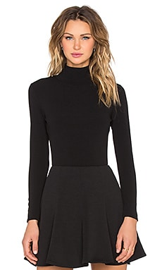 Twin Sister Longsleeve High Neck Bodysuit in Black