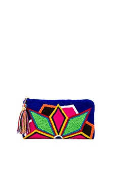 Neon Lights Blue Clutch in Multi
