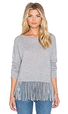 ThePerfext Greenpoint Fringe Sweater in Heather Grey