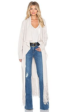 ThePerfext Bushwick Fringe Cardigan in Almond