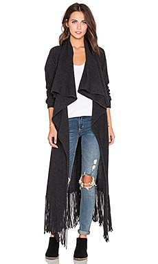 ThePerfext Bushwick Fringe Cardigan in Charcoal