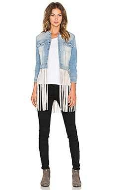 ThePerfext Molly Fringe Leather Jacket in Cream Leather Fringe