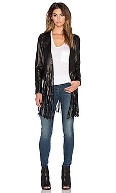 ThePerfext Christy Fringe Jacket in Black Leather
