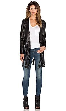 ThePerfext Christy Fringe Jacket in Black Leather