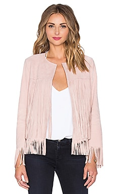 ThePerfext Ryder Classic Fringe Jacket in Dusty Rose Suede