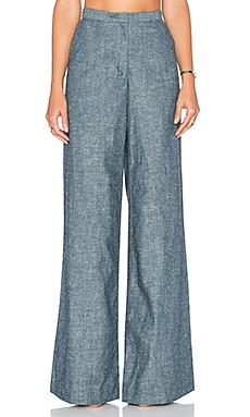 TY-LR The Chambray Cate Trouser in Blue Chambray