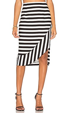 The Borsa Stripe Skirt en Rayé Noir & Blanc
