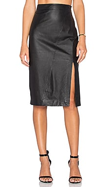 TY-LR The Com Leather Skirt in Black