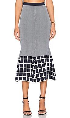 TY-LR The Vantage Knit Skirt White & Indigo