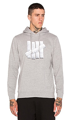 Undefeated Embroidery Strike Hoodie in Grey Heather