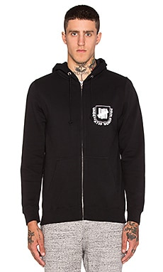 Undefeated Worldwide Zip Hoodie in Black