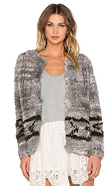 Ulla Johnson Farah Rabbit Fur Cardigan in Gris