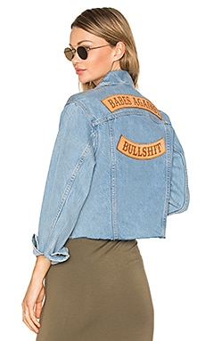 Babes Against Bullshit Chopped Denim Jacket in Stone Washed Denim