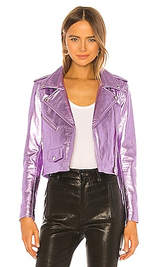 Metallic Mercy Crop Jacket Understated Leather $355
