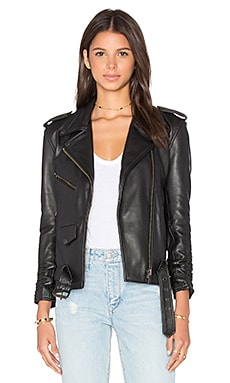 Understated Leather x REVOLVE Scrunch Sleeve MC Jacket in Black