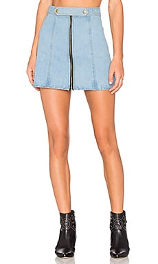 x REVOLVE High Waist Zip Skirt in Sky Blue & Acid Wash