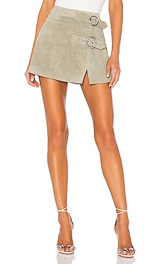 Mid Rise Double Buckle Skirt Understated Leather $139