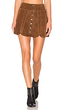 x REVOLVE Scalloped Snap Skirt in Tan