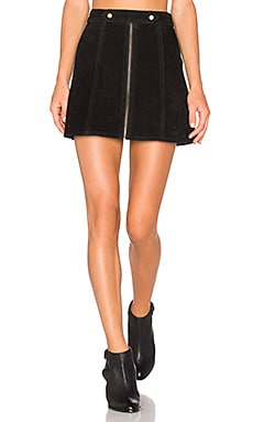 x REVOLVE High Waist Suede Zip Skirt