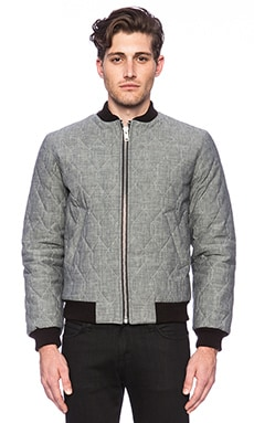 United Stock Dry Goods Quilted Bomber Jacket in Gray