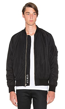UNIF Brace Bomber Jacket in Black