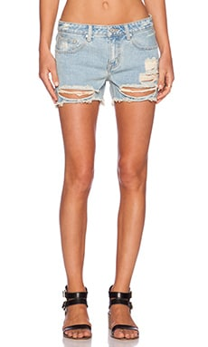UNIF Charlie Mid Rise Short in Washed Blue