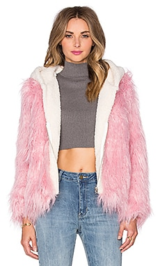 UNIF Gemma Faux Fur Jacket in Pink & White