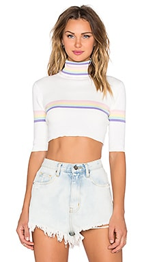UNIF Relly Crop Top in White & Multi