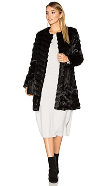 Dream Catcher Faux Fur Coat in Black