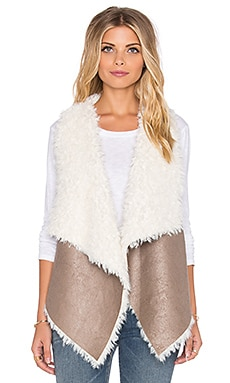 Unreal Fur Duet Reversible Vest in Taupe & Cream