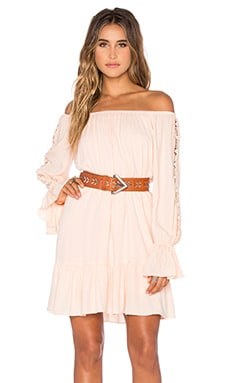 Dacia Off Shoulder Dress in Peach