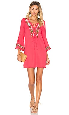 Dina Bell Sleeve Dress in Red