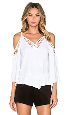 Hollie Open Shoulder Top in White