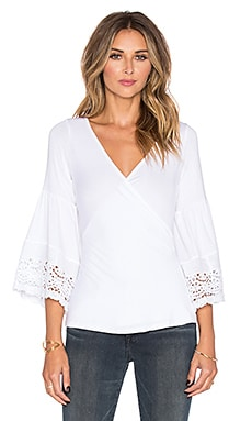 VAVA by Joy Han Venetia Bell Sleeve Top in White