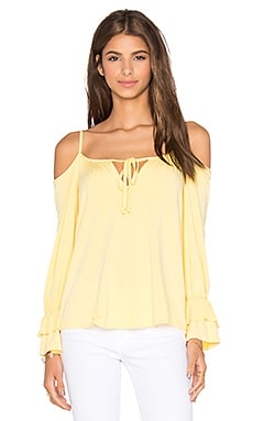 Fanya Open Shoulder Top en Jaune