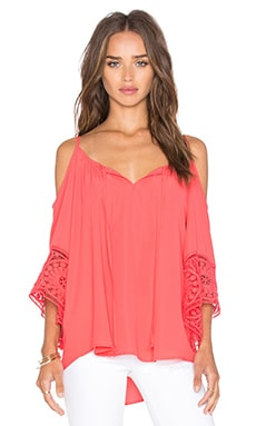 Ina Open Shoulder Top in Coral