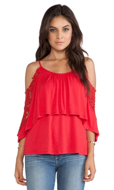 VAVA by Joy Han Julianna Babydoll Top in Red