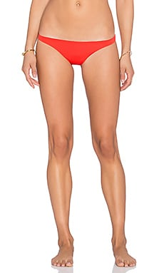 vitamin A Samba Ruched Bikini Bottom in Vermillion
