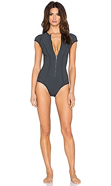 vitamin A Isabella Reversible Maillot in Double Agent Charcoal & Blue