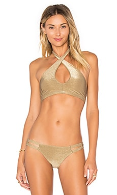 Camilla Cross Neck Top in Metallic Bronze
