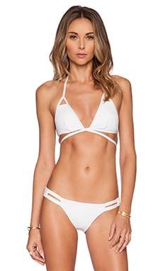 vitamin A Serra Keyhole Wrap Bikini Top in White Mesh Esperanza