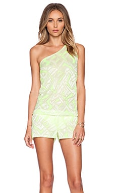 vitamin A Lola One Shoulder Romper in Limelight Crochet