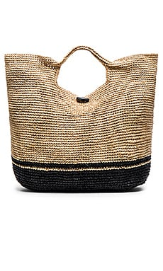 vitamin A Large Beach Bag in Jute & Black