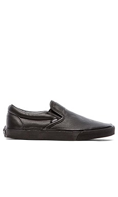 Vans Classic Slip On in Premium Leather Black Mono