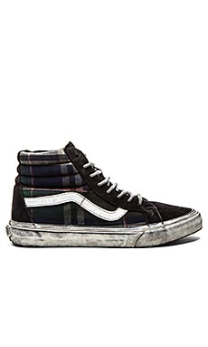 Vans California SK8 Hi Reissue Over Washed Plaid in Nine Iron Blanc de Blanc