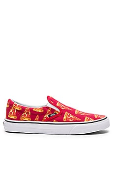 Vans Classic Slip-On Late Night in Mars Red & Pizza