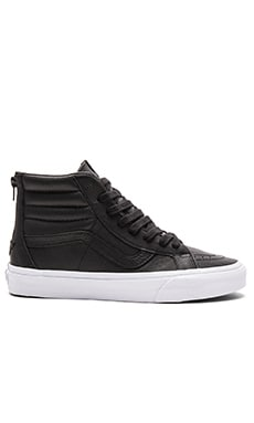 Vans SK8-HI Reissue Zip Premium Leather in Black & True White