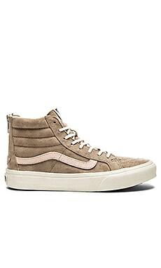 Vans SK8-Hi Slim Zip Sneaker in Hemp & Blanc de Blanc