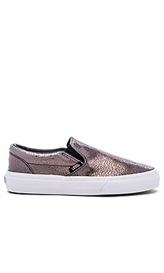 Vans Classic Slip On Sneaker in Gunmetal & True White